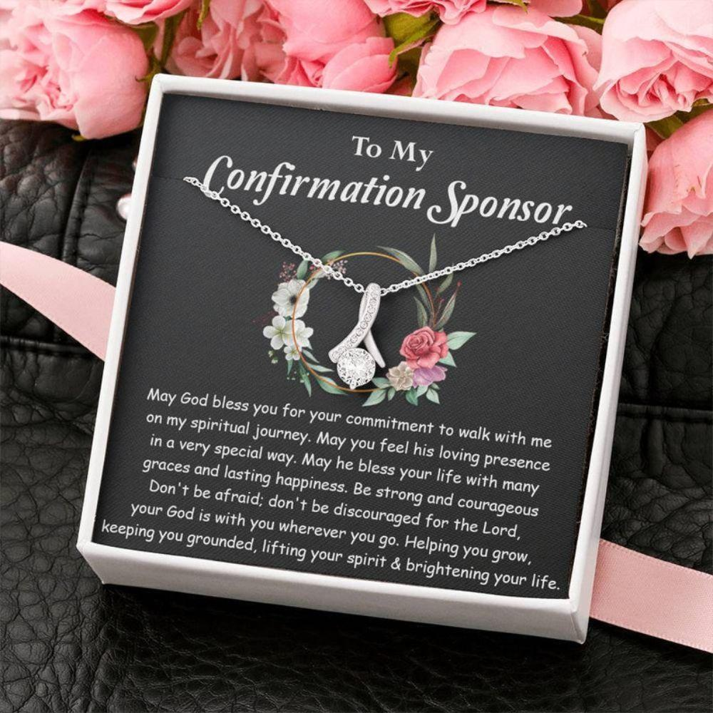 Alluring Necklace, Catholic Sponsor, Confirmation Necklace Gifts For Sponsors Religious Thank You Gift, Confirmation Sponsor Gift