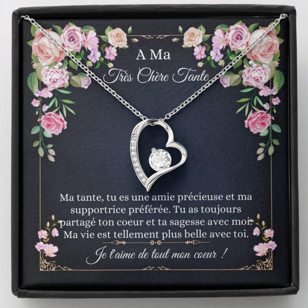 Aunt Necklace, Collier Bijoux Tante - French Auntie Gift - Carte Fran�aise - Cadeau Tante - Best Aunt Ever - Necklace Keepsake