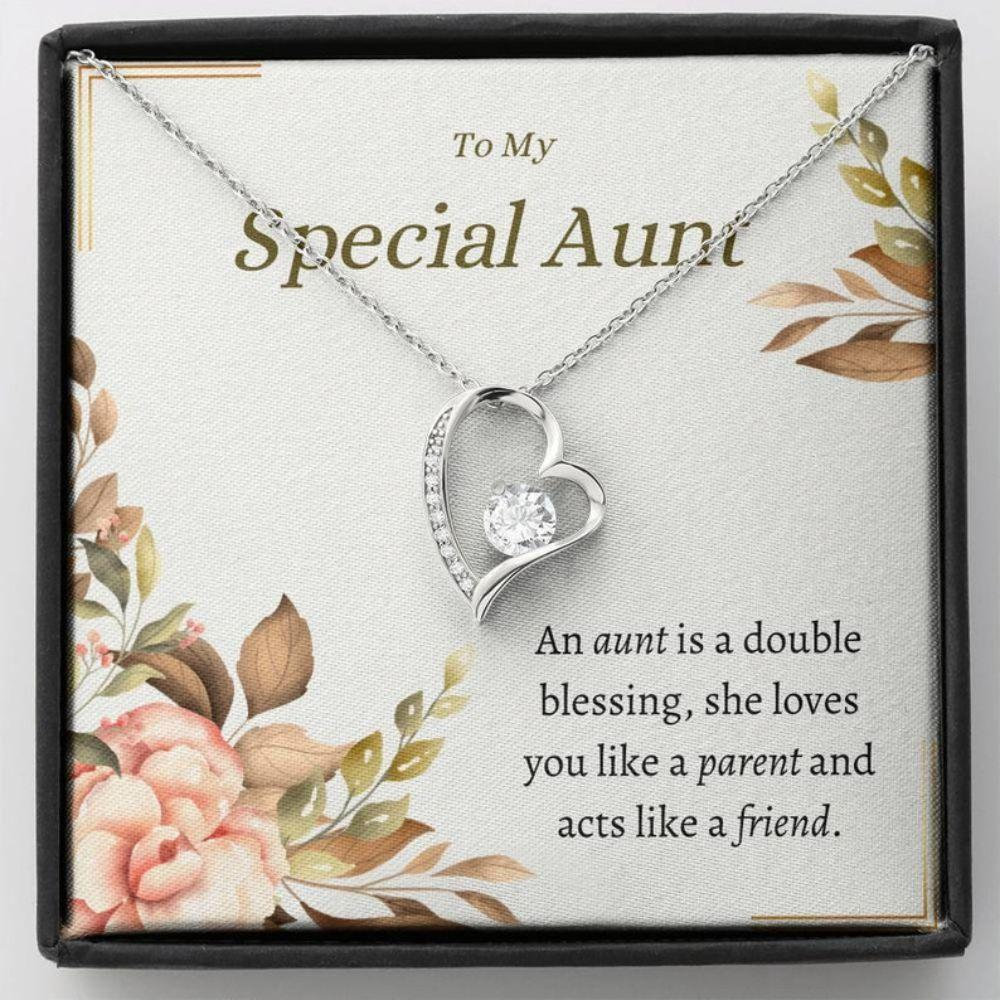 AUNT Necklace - Loving Necklace Card - Dainty Cubic Pendent - Special Aunt Gift - Aunt Birthday Gift