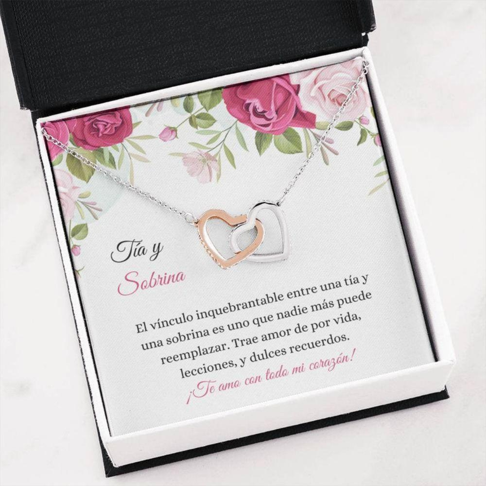 Aunt Necklace, Sobrina Tia Collar - Spanish Auntie Necklace - Latina Niece Necklace - Spanish Family Gift Mejor Tia