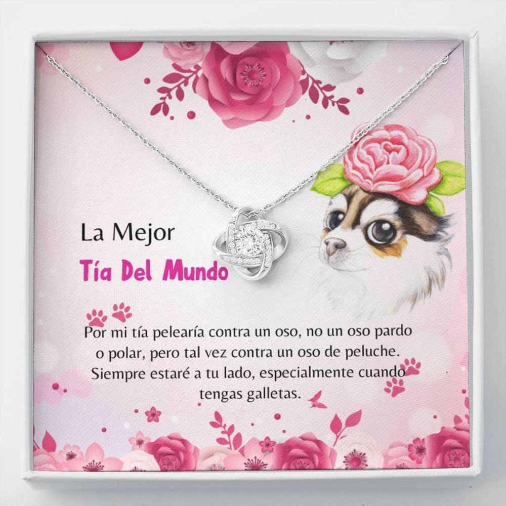 Aunt Necklace, Spanish Dog Aunt Gift - Latina Dog Aunt Necklace - Tia Amante De Perro - Tia Collar Carta