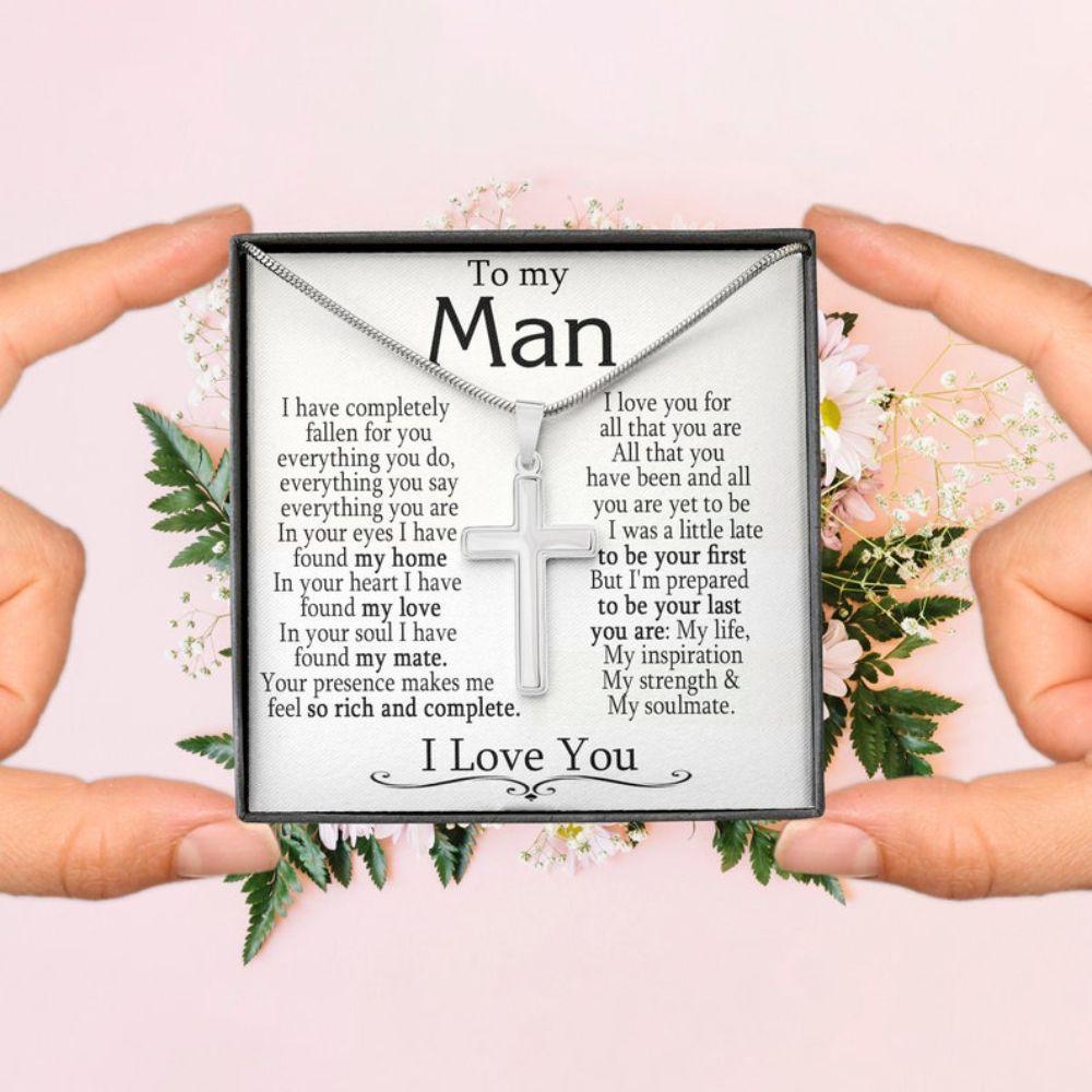 Boyfriend Necklace, Boyfriend Gift, Gifts For Boyfriend, Boyfriend Anniversary Necklace Gift, Christian Cross Necklace For Boyfriend