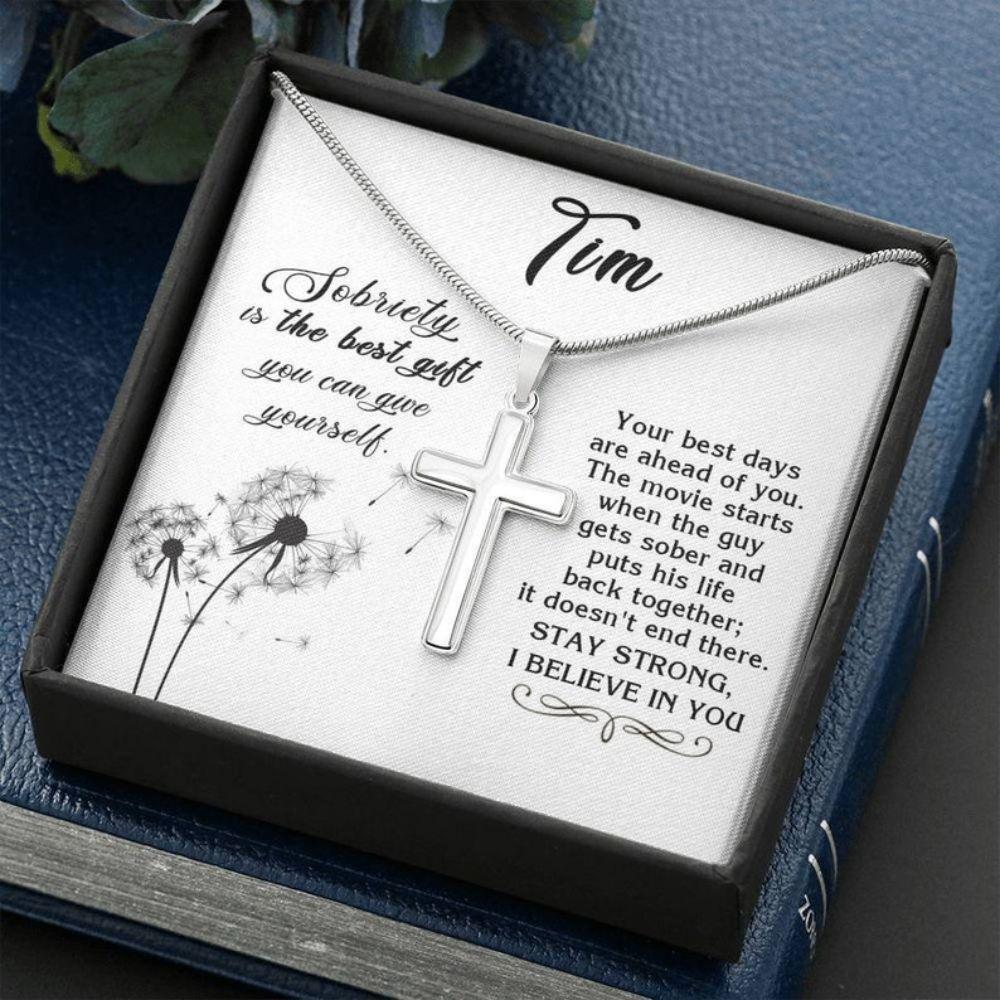 Boyfriend Necklace, Sobriety Gift For Men, Sobriety Cross Necklace Gift For Friend, Sober Boyfriend Gift