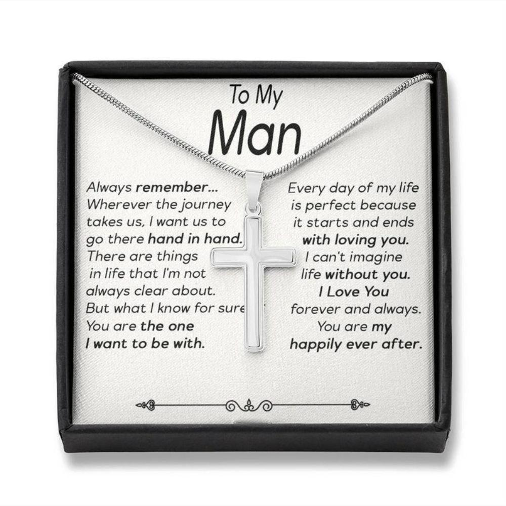 Boyfriend Necklace, To My Man Necklace, Meaningful Boyfriend Cross Necklace, Boyfriend/ Husband Necklace, Christian Gift For Man