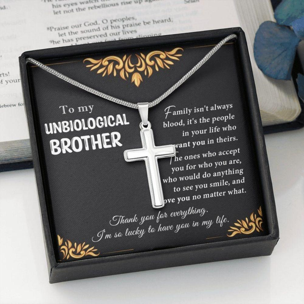 Brother Necklace, Meaningful Gift For Unbiological Brother, Bonus Brother Necklace, Birthday Necklace Gift For Bonus Brother