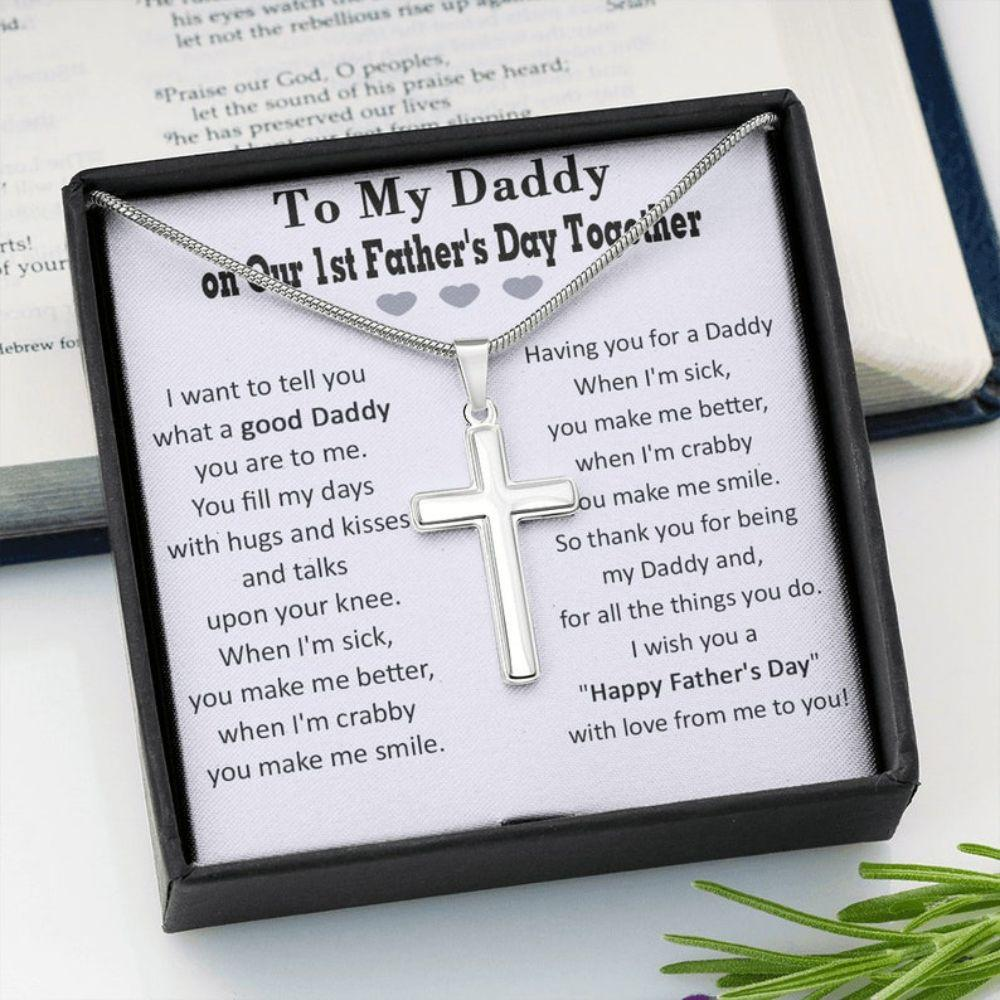 Dad Necklace, Cross Necklace For Dad On Our First Fathers Day, First Fathers Day Gift From Baby Girl/Son, Dad Gift