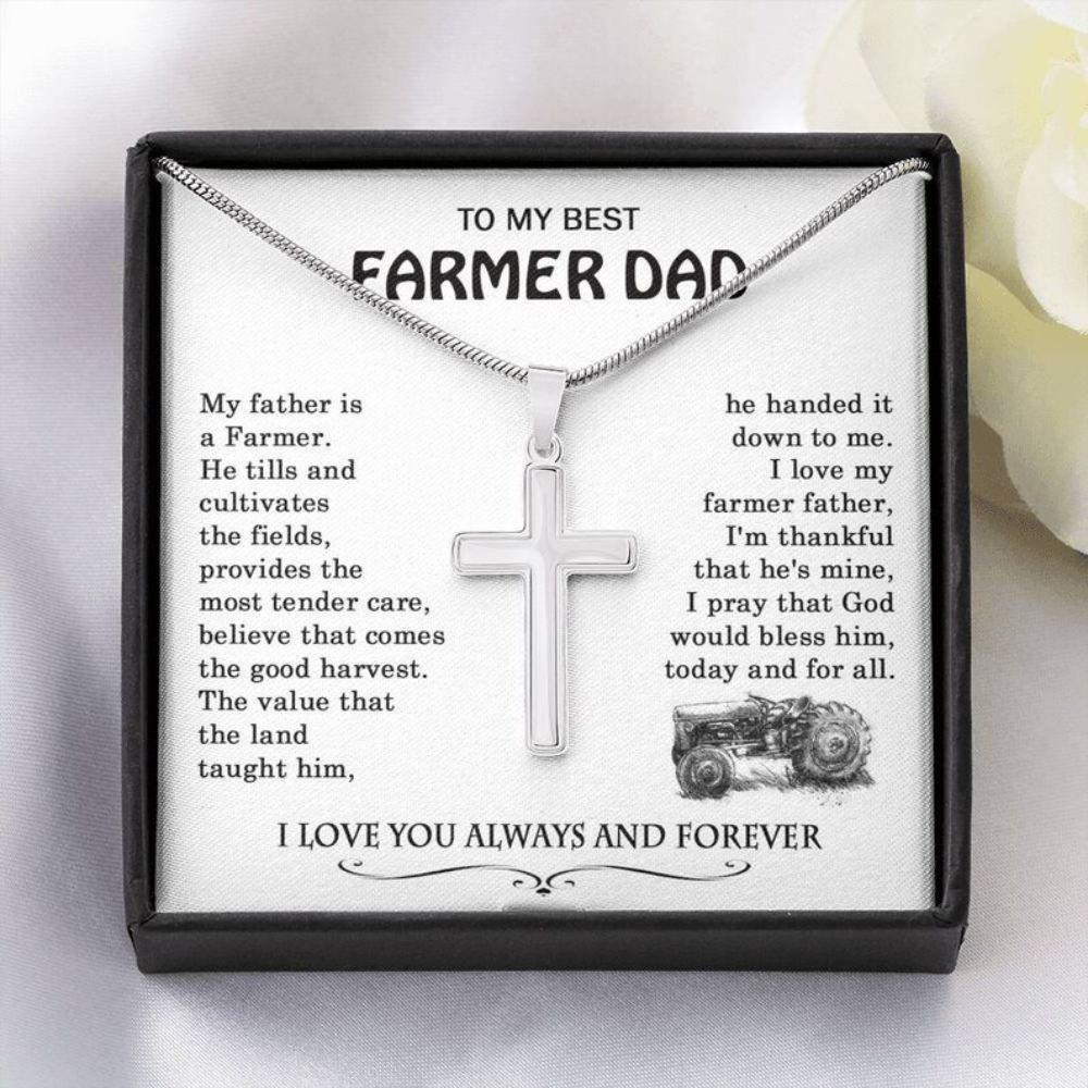 Dad Necklace, Farmer Dad Gift, Cross Necklace For Farmer Father, Farm Dad, Farmer Gifts For Dad From Daughter
