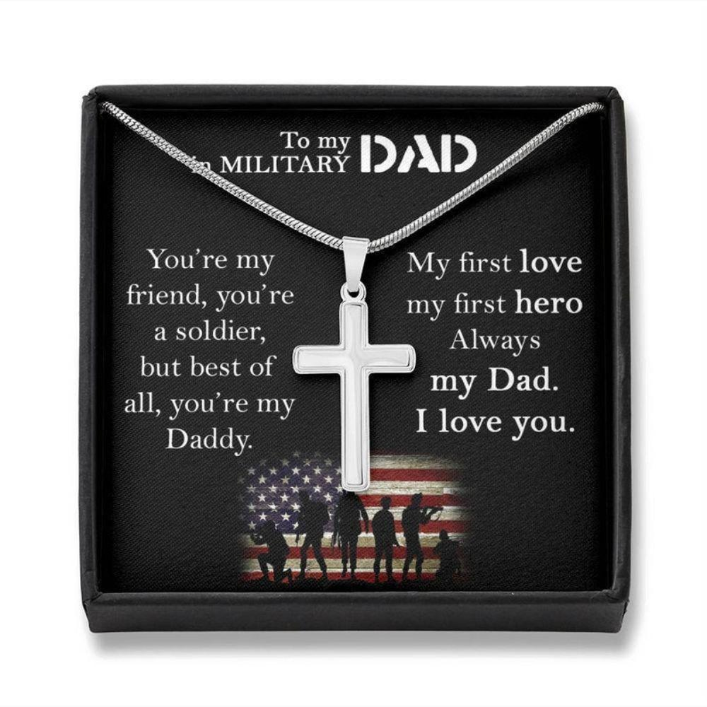 Dad Necklace, Father Neckacle Gift In Military, Gift For Dad From Son And Daughter, Army Dad Gift On 4th July