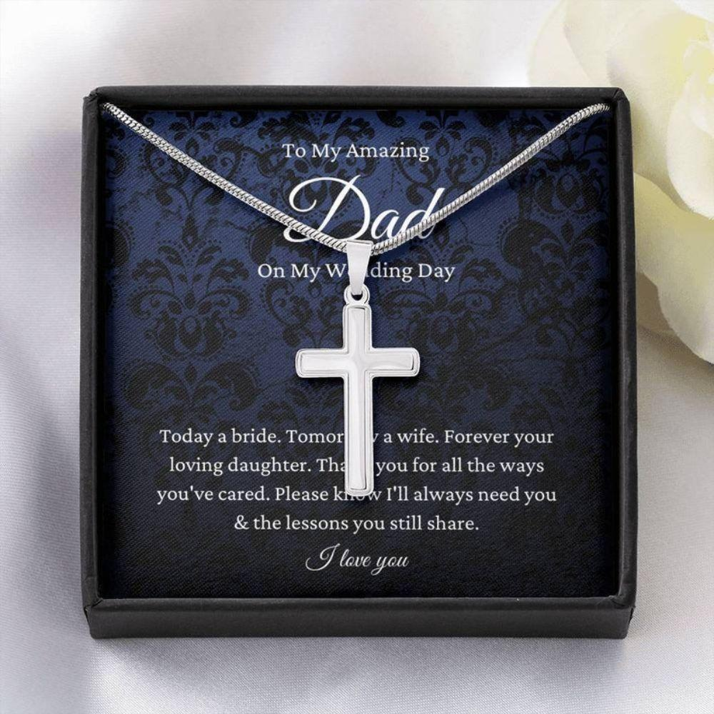 Dad Necklace, Father Of The Bride Wedding Gift From Bride, To My Dad On My Wedding Day Necklace Gift From Daughter