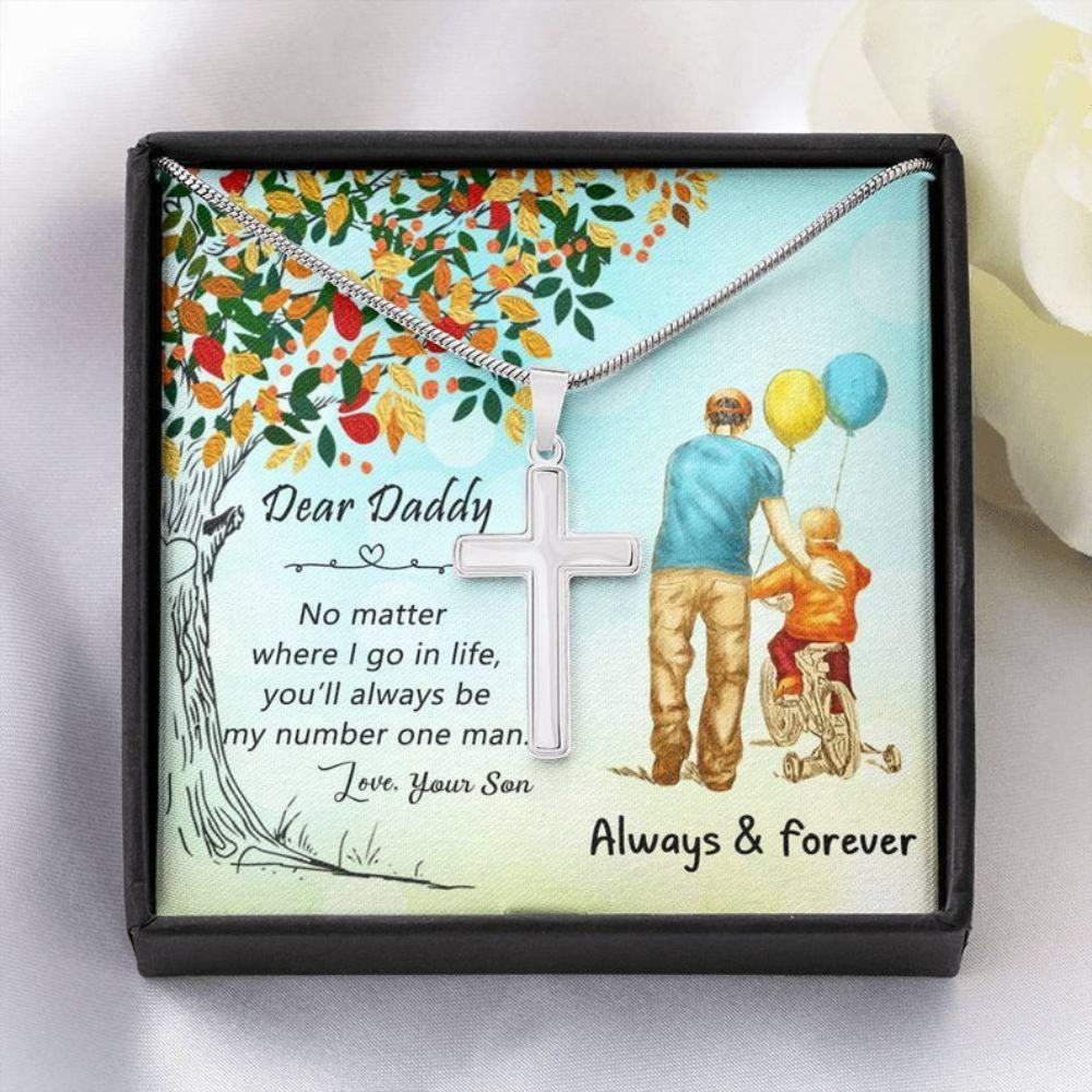 Dad Necklace, Fathers Day Gift For Dad, Gifts For Dad, Daddy Cross Necklace, Dad Gift From Son, Dad Birthday Necklace Gift, Dad Gifts