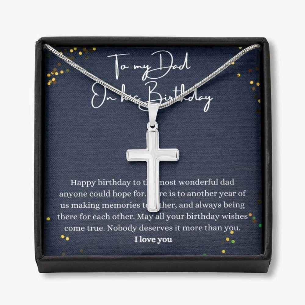Dad Necklace Gift, Happy Birthday Dad Gift, Father Birthday Jewelry, Father Thoughtful Necklace
