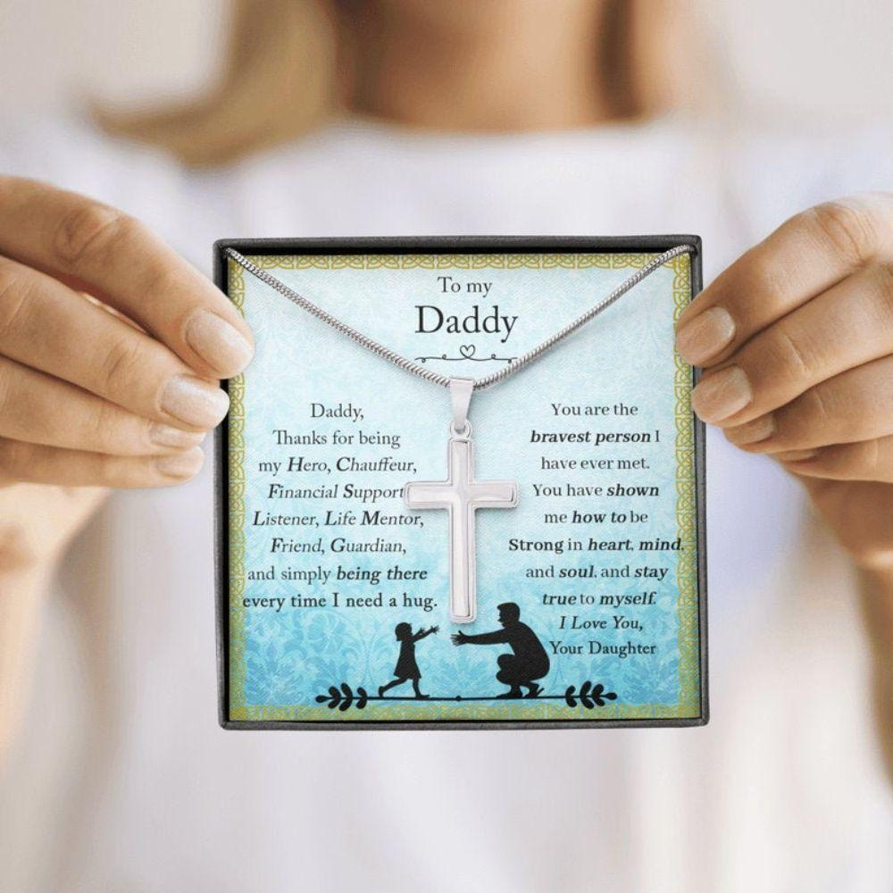 Dad Necklace, Gifts For Dad, Cross Pendant Necklace, Dad Gift From Daughter, Dad Birthday Necklace Gift, Thanksgiving Gift For Dad