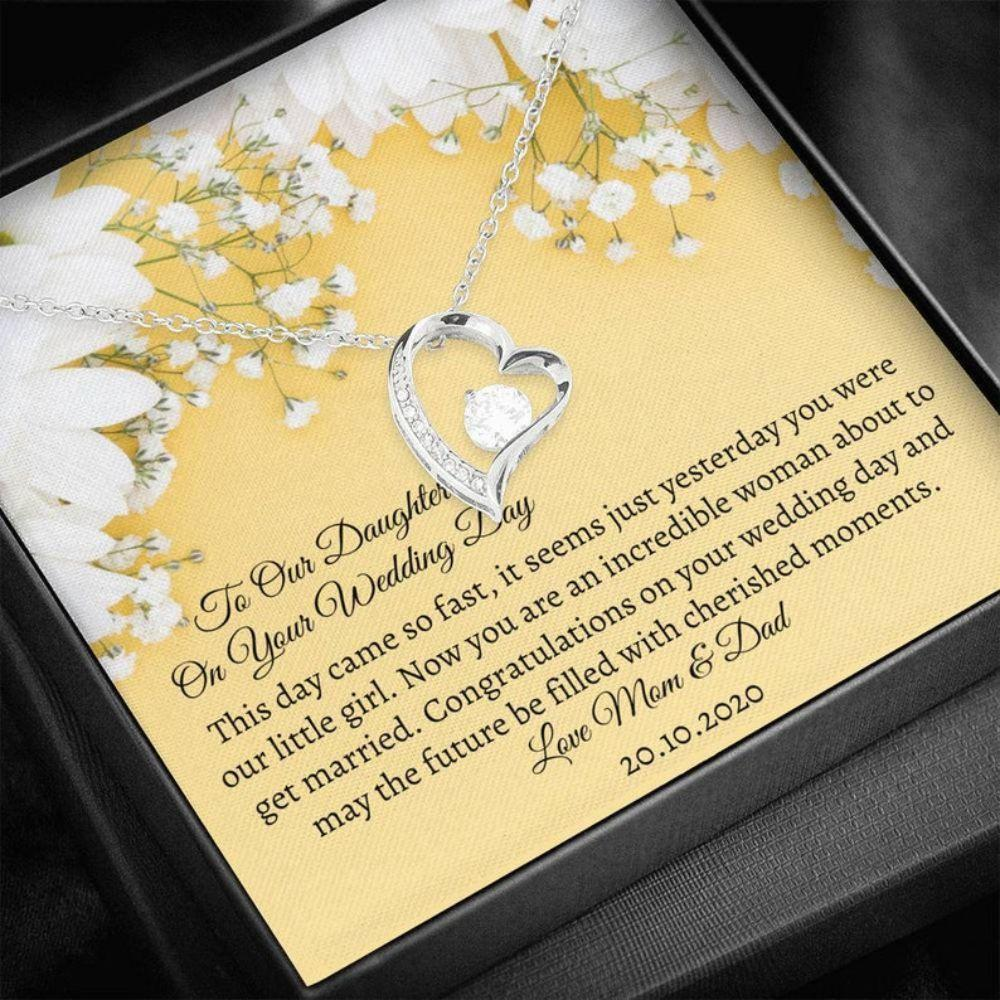 Daughter Necklace, Daughter Bride Gift - Wedding Gift Child - Bling Heart Necklace - Gift Bride From Parents