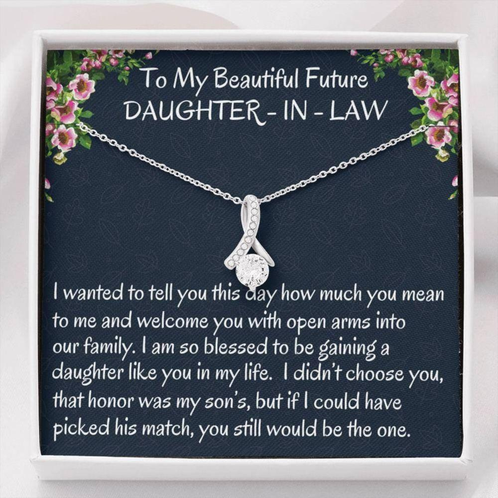 Daugter-in-law Necklace, Future Daughter-In-Law Gift On Wedding Day � Bride Gift From Mother In Law, Bonus Daughter Necklace