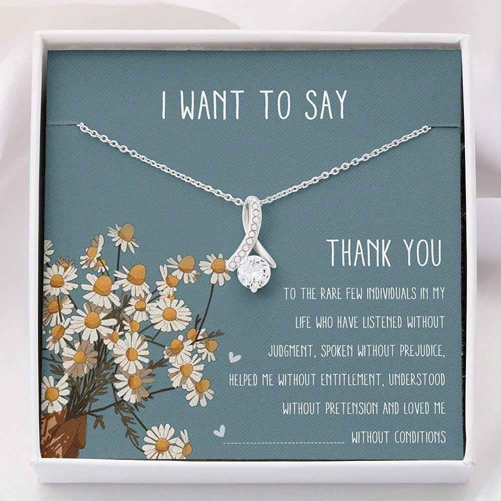 Friend Necklace, Grateful Necklace - Thank You Necklace - Alluring Beauty Necklace With Gift Box For Birthday Christmas