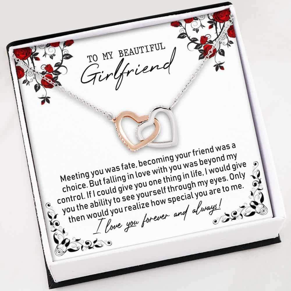 Girlfriend Necklace, To My Beautiful Girlfriend Necklace - Interlocking Hearts Necklace With Gift Box