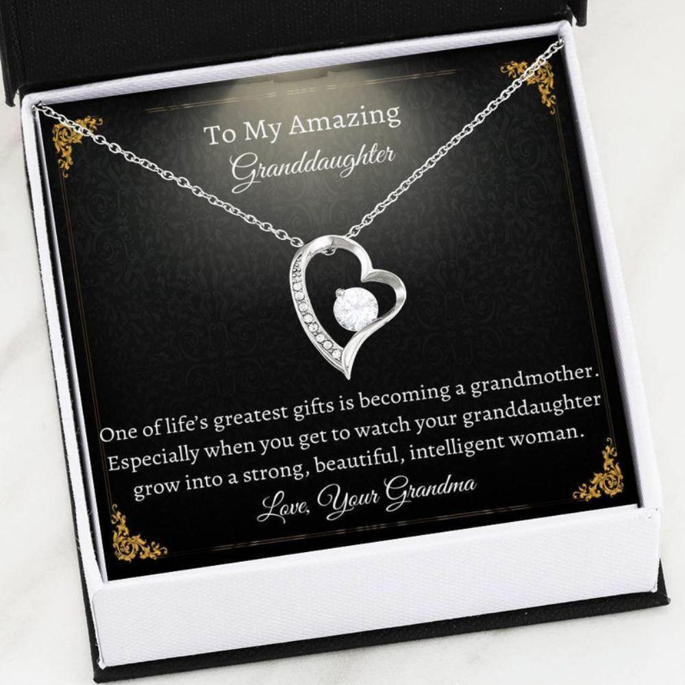 Granddaughter Necklace - Best Granddaughter Ever - Sweet Christmas Gift - Sentimental Necklace - Generations Keepsake - Miss You Gift
