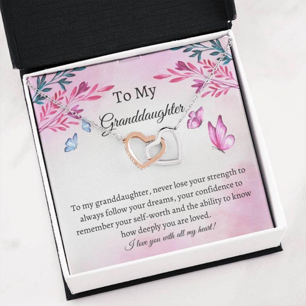 Granddaughter Necklace, Best Granddaughter Gift - Love To Granddaughter Necklace - Message Necklace - Family Love Gifts