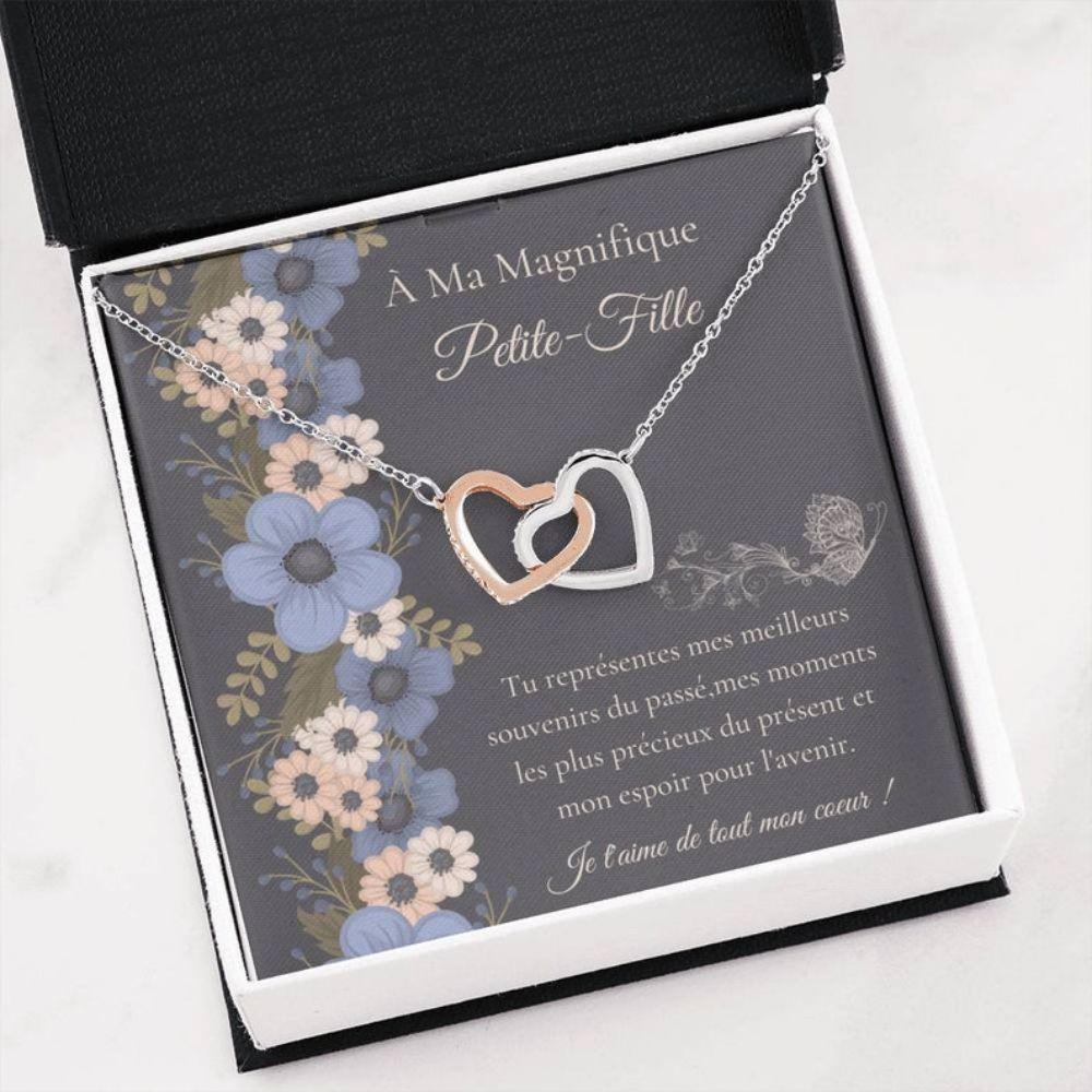 Granddaughter Necklace, Cadeau Petite-Fille - French Language Gift - Carte Petite-Fille - French Granddaughter - Bijoux Petite-Fille