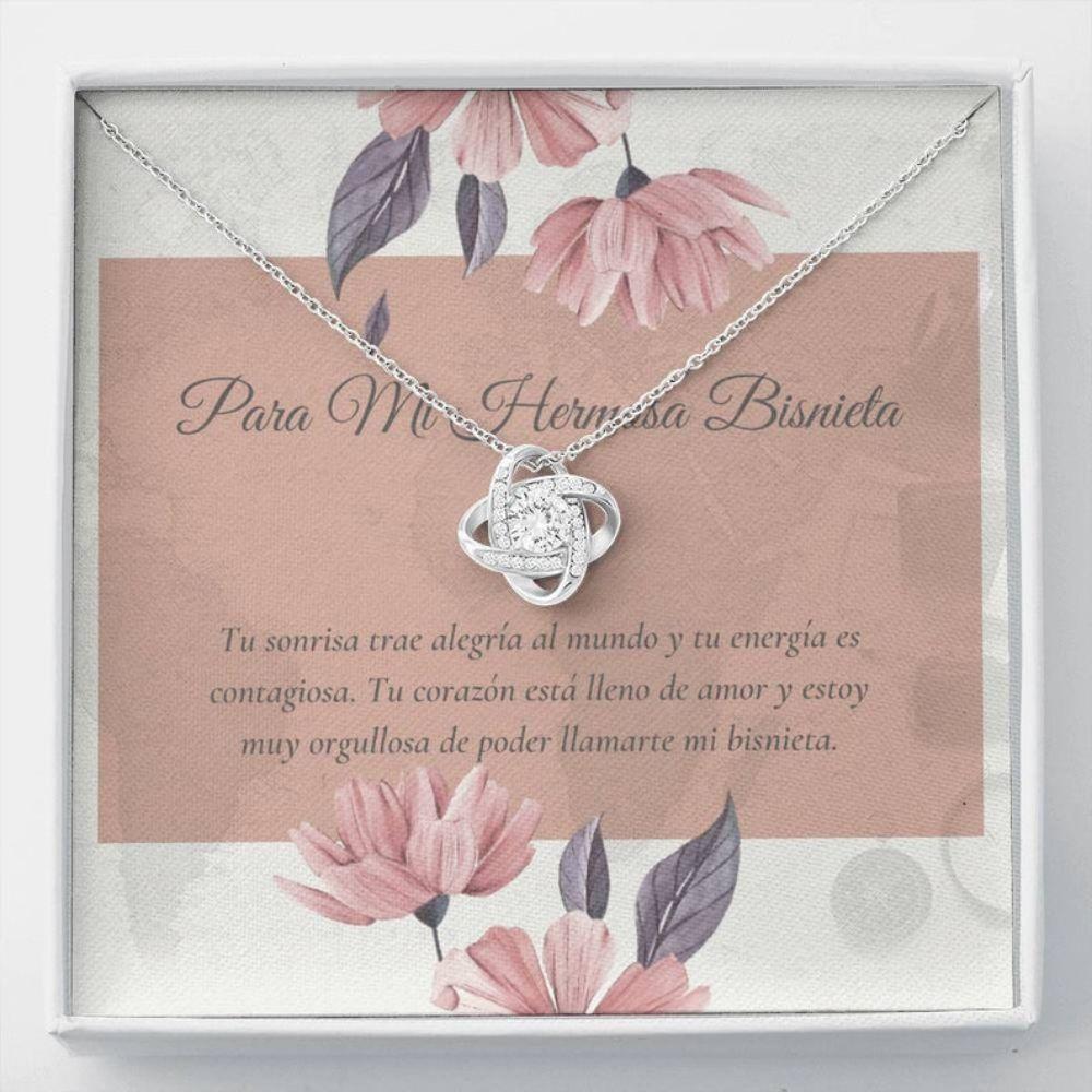 Granddaughter Necklace, Spanish Bisnieta Regalo - Great Granddaughter Gift - Bisnieta Necklace Card - Bisnieta Collar Navidad
