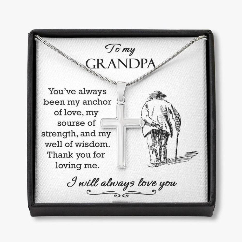 Grandfather Necklace, Gifts For Grandpa Necklace, Fathers Day Grandpa Gift From Grandson Granddaughter