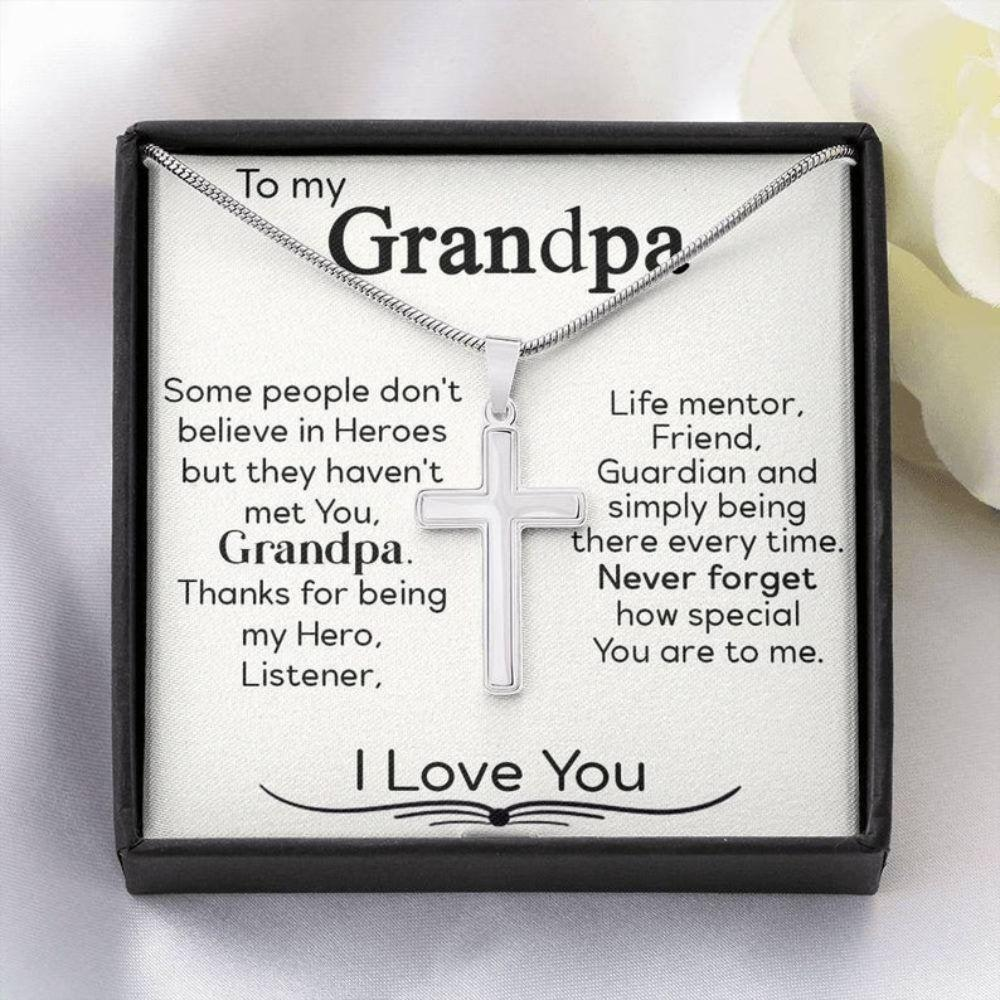 Grandfather Necklace, Grandpa Fathers Day Gift, Gift For Grandad, Christian Necklace For Grandfather, Fathers Day Gift For Grandpa From Baby