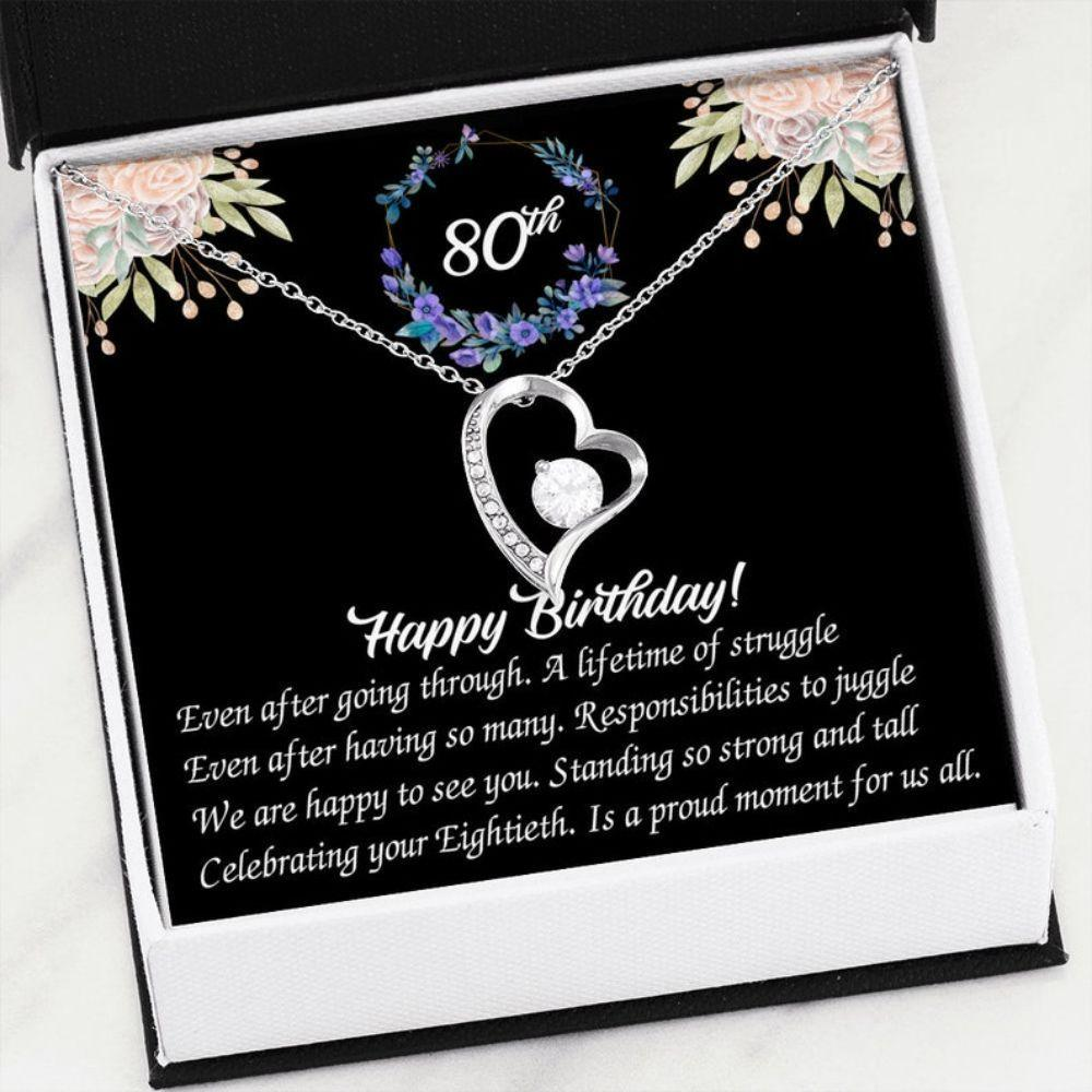 Grandmother Necklace, 80th Birthday Necklace Gift For Grandma, Gift For Mom, 80th Anniversary Birthday Necklace Gifts, Bday Gift