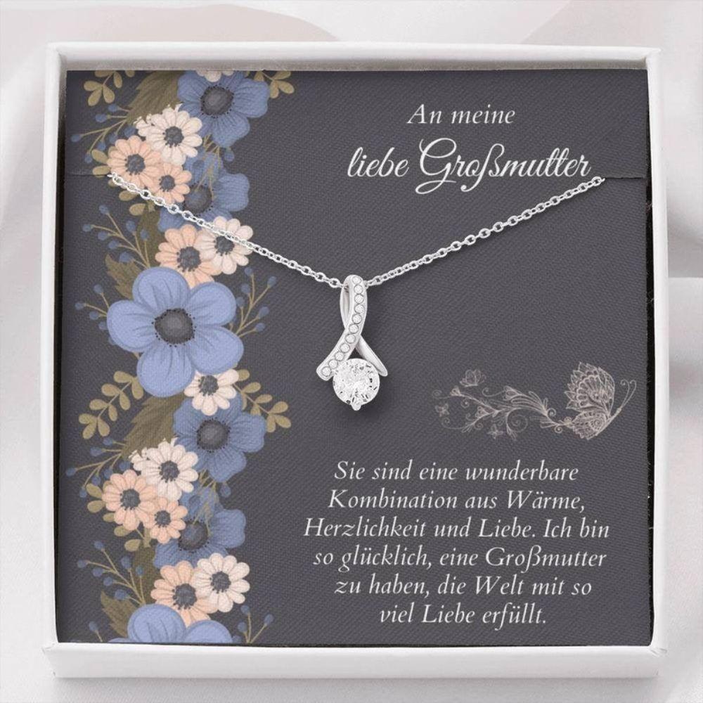 Grandmother Necklace, Beste Grobmutter Geschenk - German Grandma Necklace - Sweet German Sayings - Grobmutter Christmas Gift