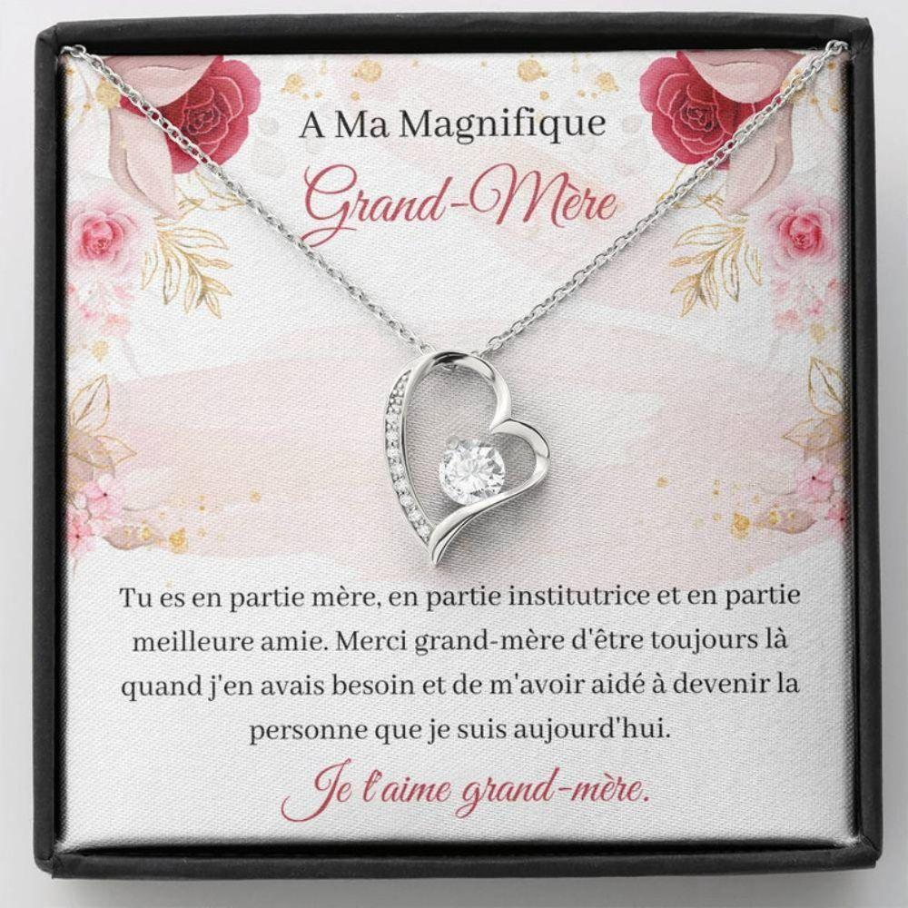 Grandmother Necklace, French Grandma Gift - Collier Ma Grand-Mere - Je T'Aime - Love To Grandma - Carte Grand-Mere