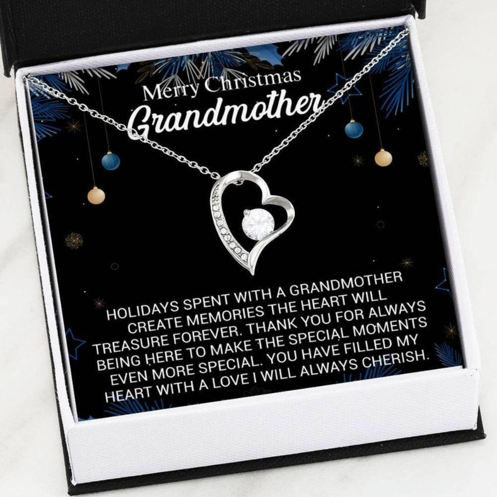 Grandmother Necklace - Grandma Christmas Gift - Heart Necklace With Card - Generation Keepsake - Christmas Necklace