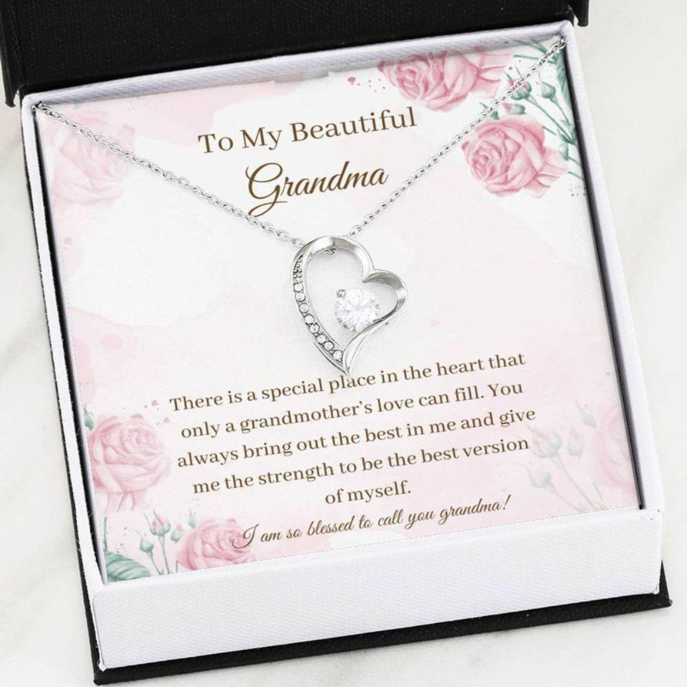 Grandmother Necklace, - Grandma Gift Necklace - Just Because Gift - Inspirational Cards - Grandma My Hero