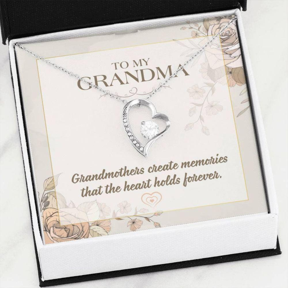 Grandmother Necklace, GRANDMA Necklace GIFT - Message Card For Grandma - Statement Heart Necklace - Congrats New Grandma