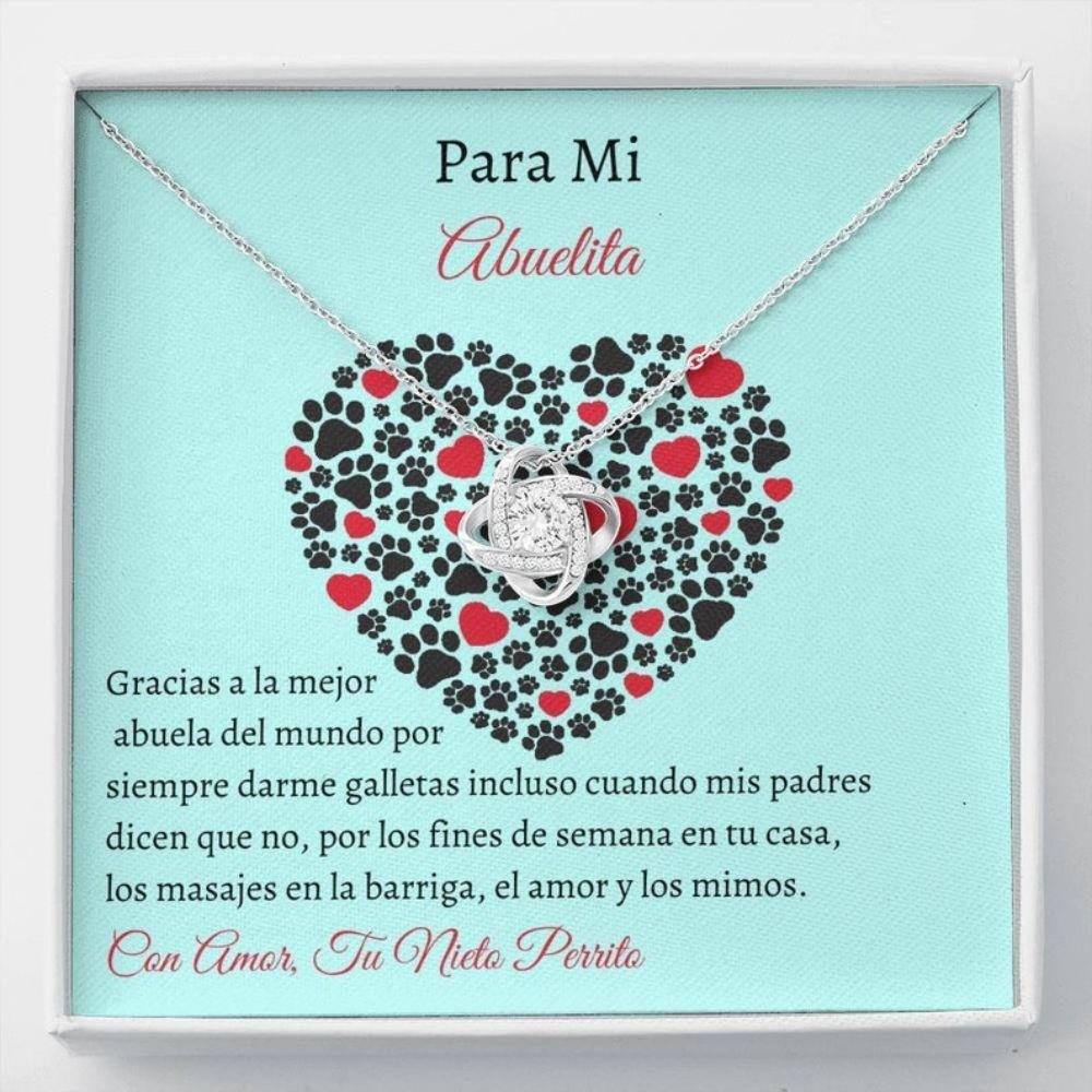 Grandmother Necklace, Spanish Dog Grandma Gift - Spanish Dog Card - Fur Grandbaby Gift - Dog Lover Necklace