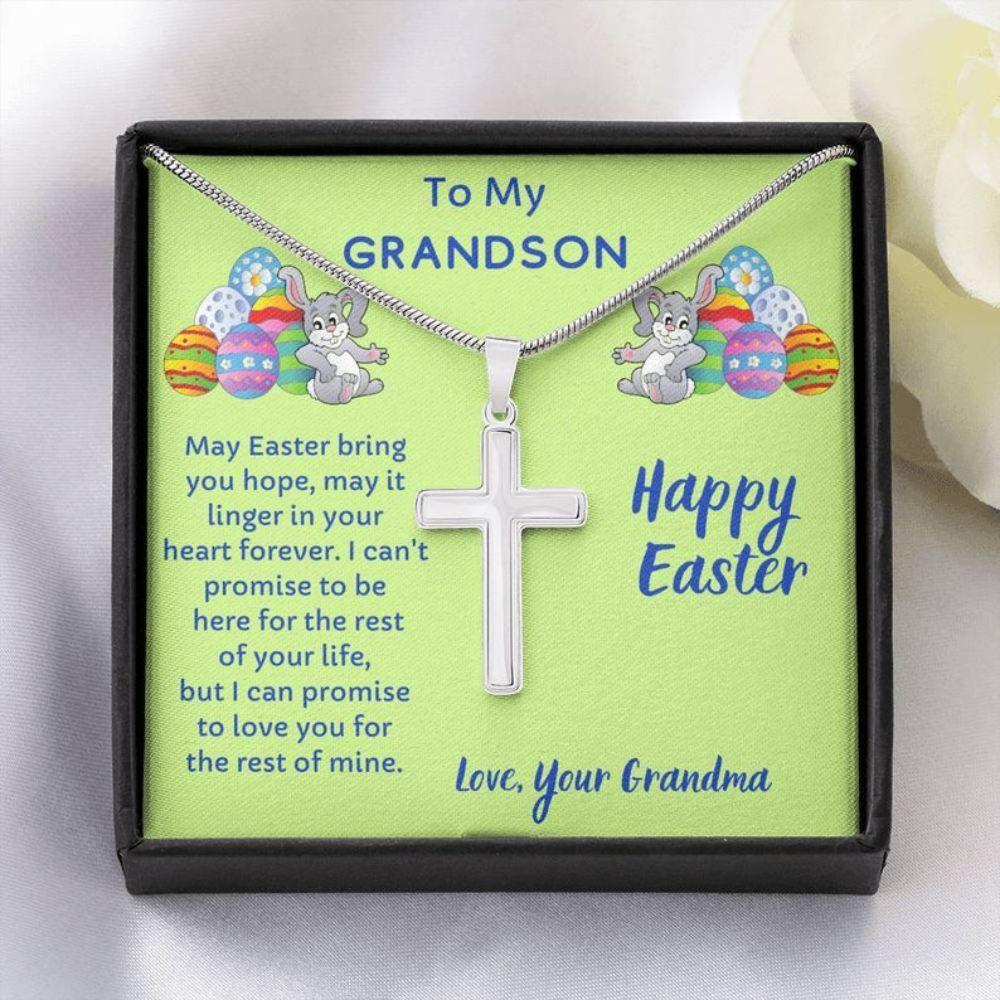 Grandson Necklace, Easter Gift For Grandson, Cross Necklace For Grandson From Grandma