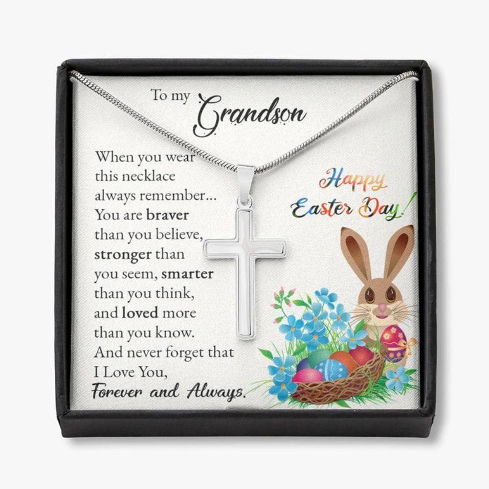 Grandson Necklace, Easter Gifts For Grandson, Cross Necklace Gift For Grandson, Little Boy Easter Christian