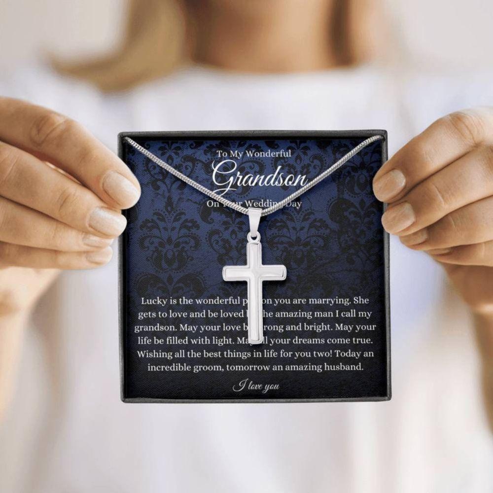 Grandson Necklace, Grandson Wedding Gift, To Groom Necklace From Grandma/Grandpa On Wedding Day Gift