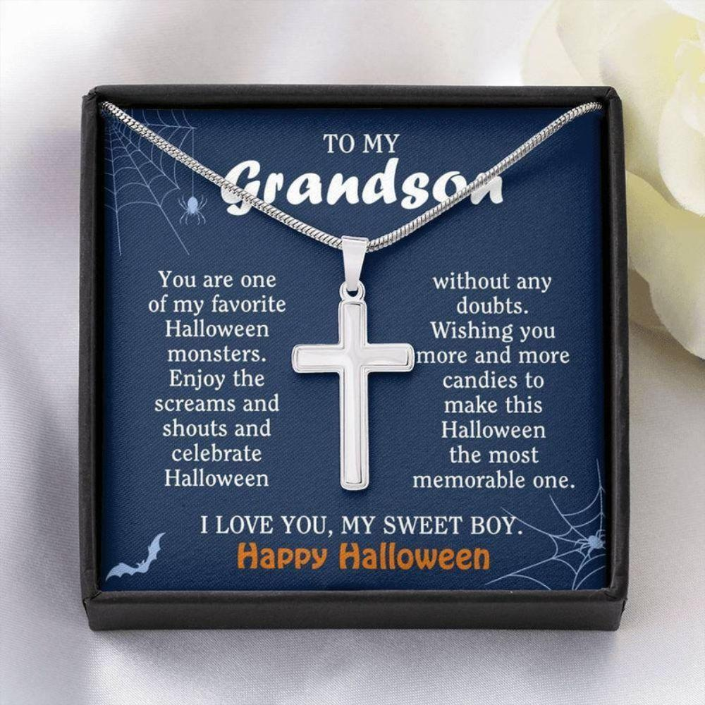 Grandson Necklace, Halloween Necklace Gift For Kids, Gift For Grandson From Grandma, To My Sweet Boy Necklace