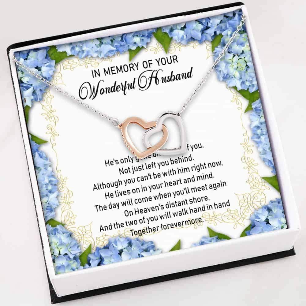 Husband Memorial Necklace - Interlocking Hearts Necklace With Gift Box For Birthday Christmas