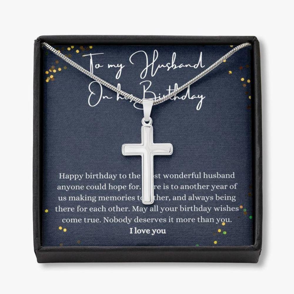 Husband Necklace Gift, Happy Birthday Husband Gift, Husband Birthday Jewelry, Husband Thoughtful Necklace