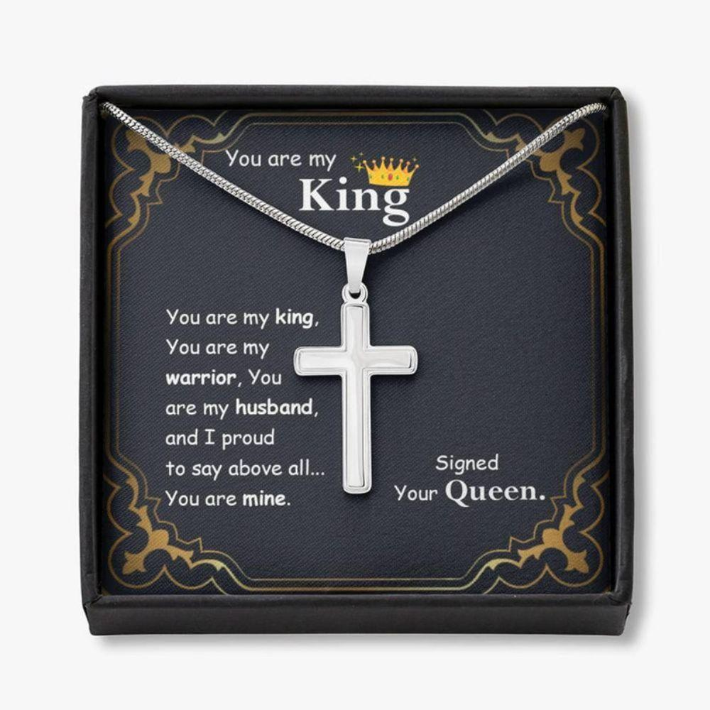 Husband Necklace, You Are My King Cross Necklace, Birthday Gift For Husband, Cross Pendant Necklace For Him