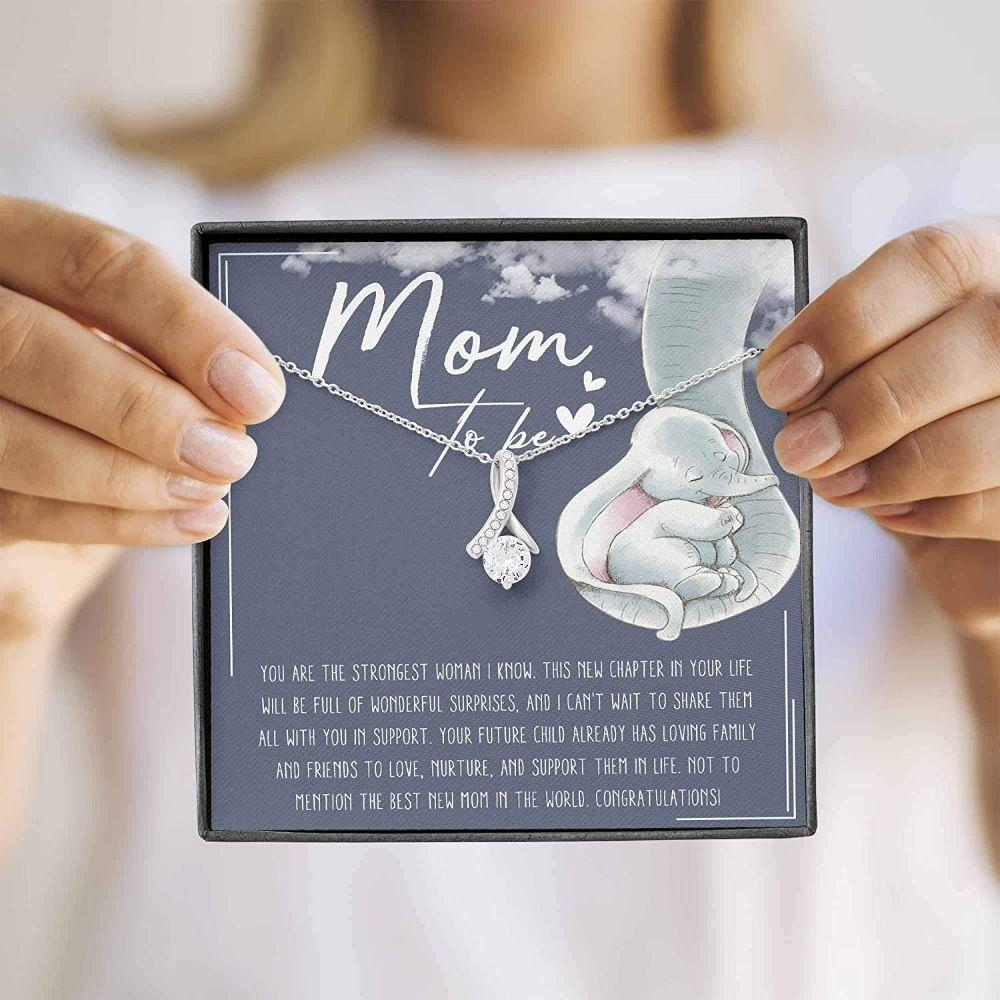 Mom Necklace, Mom To Be Necklace – Gift For Expecting Mom – Alluring Beauty, White, Fits Necklace With Gift Box