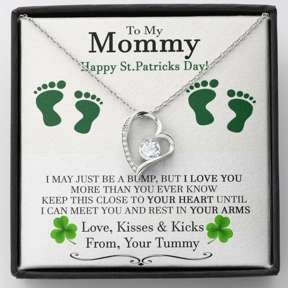 Mom Necklace, New Mom St Patrick's Day Gift, Pregnant Wife St Patrick's Day Gift, Gift For Expecting Wife, Mom To Be St Patricks Day Necklace