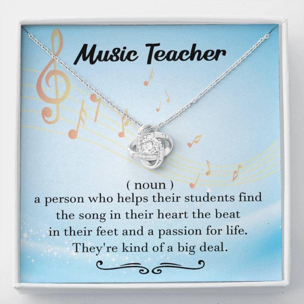Music Teacher Gift, Music Teacher Definition Love Knot Necklace, Music Lovers Gift, Teacher Retirement Gift Necklace Music