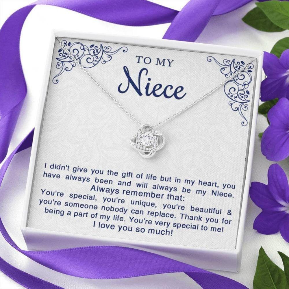 Niece Necklace, Niece Birthday Necklace Gift From Aunt, Niece Gifts For Niece, Love Knot Necklace For Niece