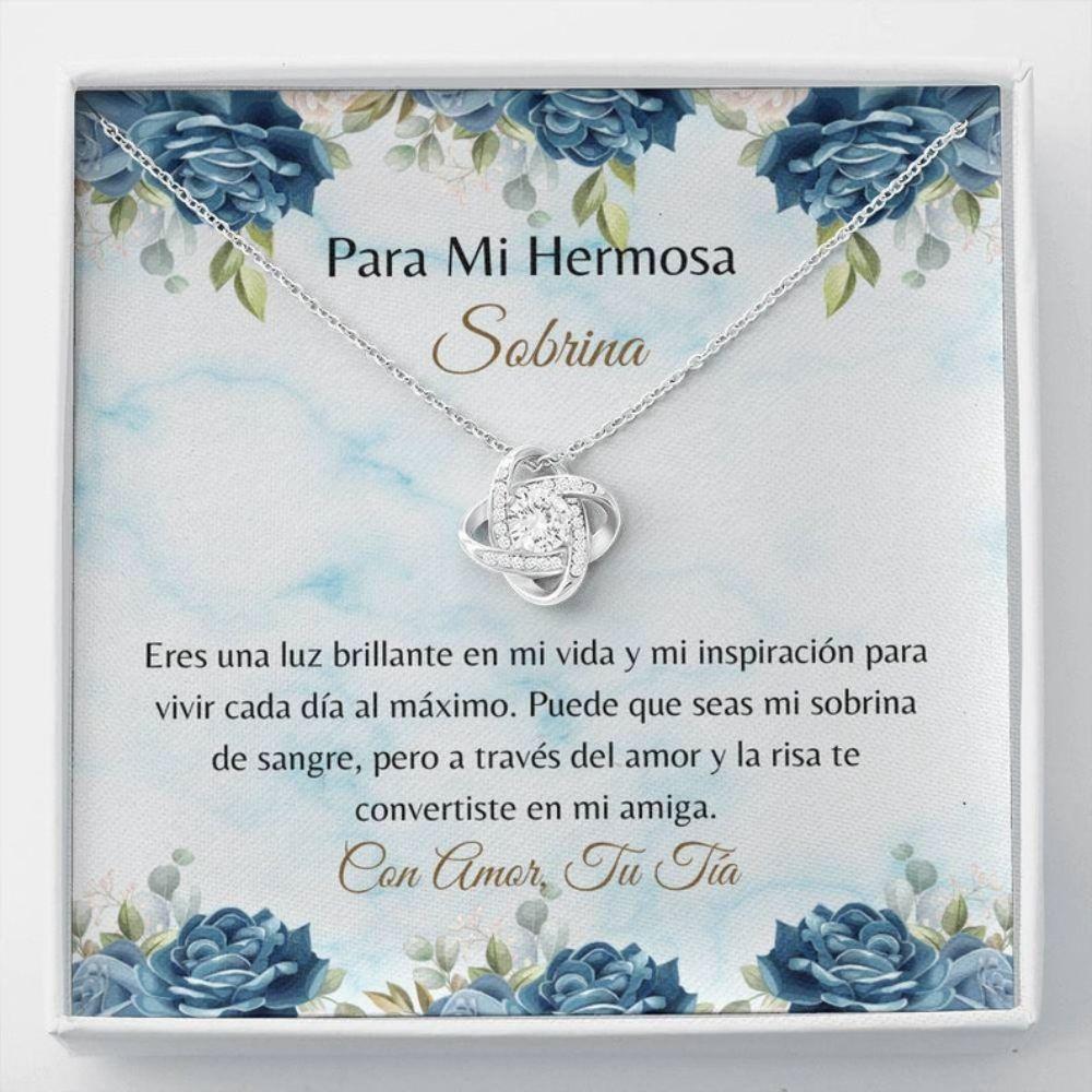 Niece Necklace, Spanish Niece Card - Latina Niece Necklace - Loving Spanish Gift - Adjustable Pendant - Sobrina Collar Regalo