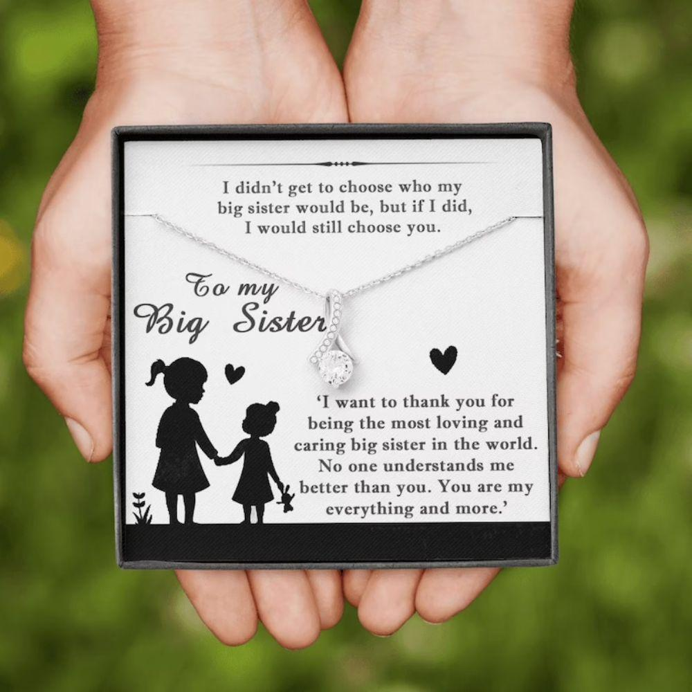 Sister Necklace, Big Sister Necklace From Little Sister, Christmas Necklace For Big Sister, Older Sister Gift, Big Sister Gift