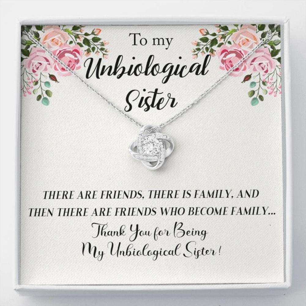 Sister Necklace, Unbiologic Sister Necklace, Unbiological Sister Love Knot Necklace, Best Friend Necklace, Soul Sister Gift, Bridesmaid Gift
