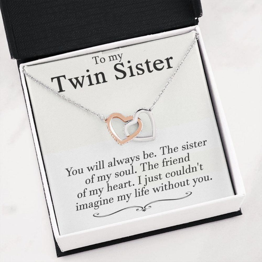Sister Necklace, Valentine's Day Gifts For Twins Necklace, Gift For Sister, Birthday Necklace Gift For Twin Sister, Best Friend Gift, Twin Sister Gift
