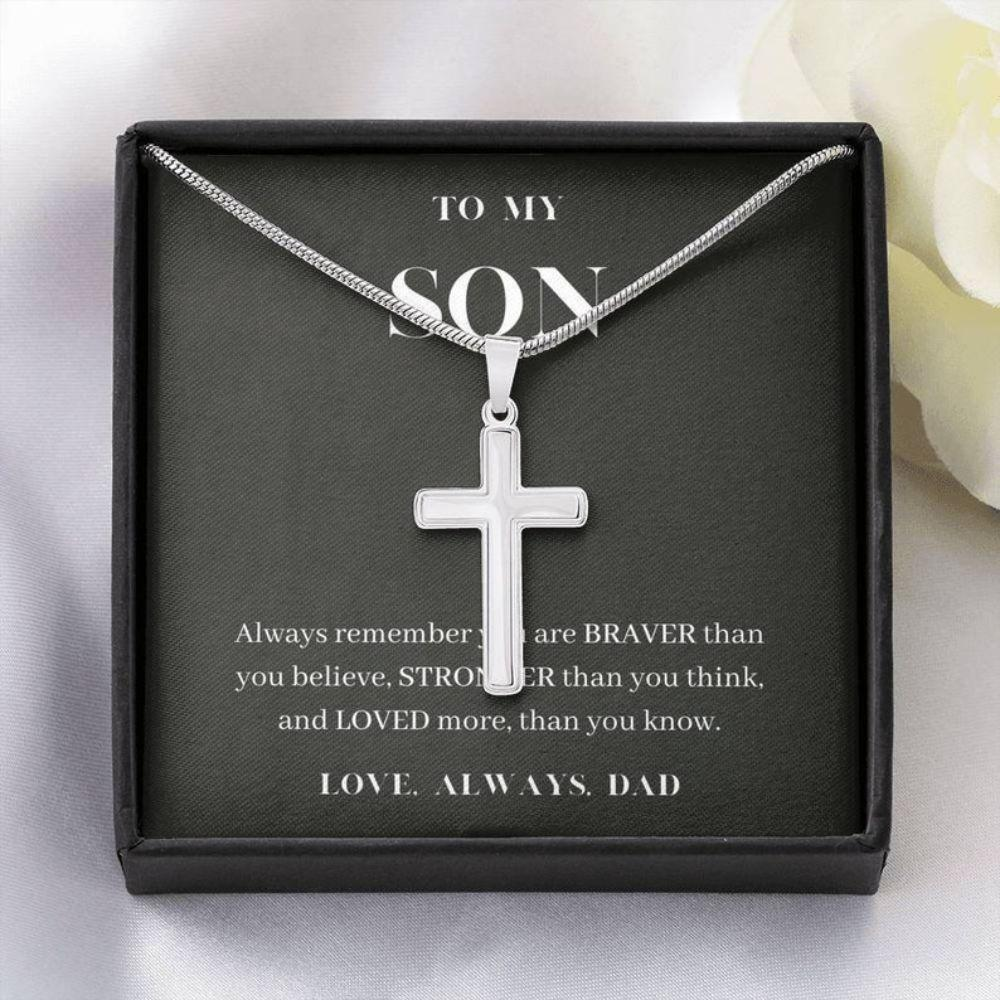 Son Necklace, Always Remember You Are Loved, Birthday Gift For Son, To My Son Cross Necklace, Present From Dad