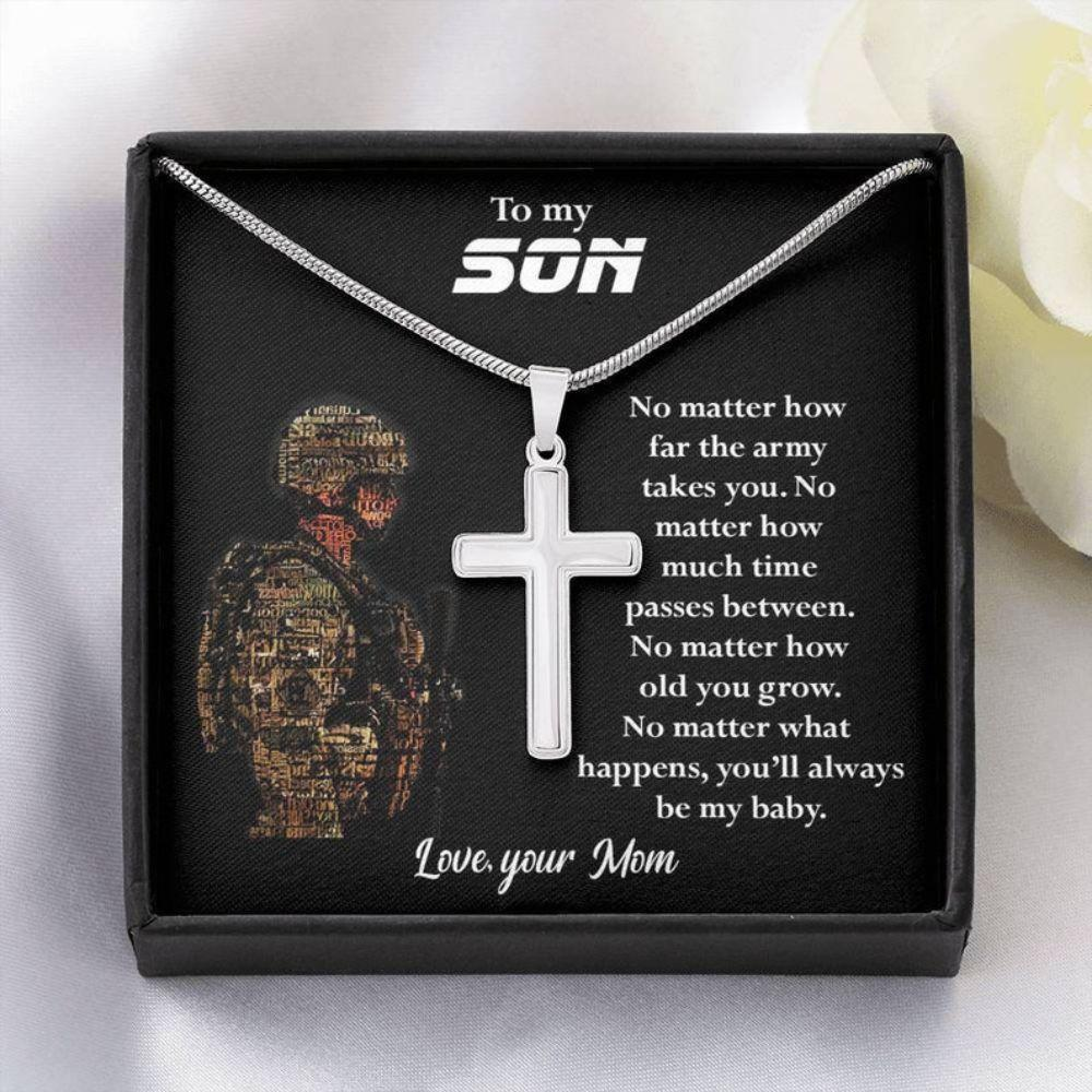 Son Necklace, Birthday Gift For Army Son, Present From Mom Gift On 4th July, Son In Military Necklace, Son Gift